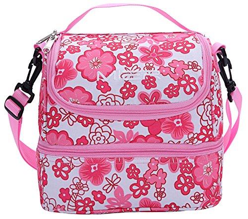 Mier fresco borsa rosa a doppio scomparto pranzo kit riutilizzabile pranzo tote isolata scatola di pranzo per i bambini, ragazza, donne ( fiore rosa)