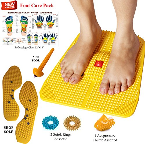 Super INDIA Store--Acupressure Power Mat with Magnets n Pyramids for Pain Relief & Total Health Care Useful for Heel Pain - Knee Pain - Leg Pain - Sciatica - Cramps - Migraine - Depression with Freebies By ESCOR Byzantine International Private Limited