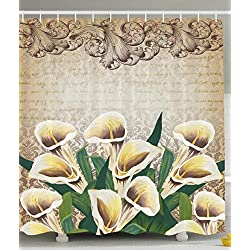 Floral Shower Curtain Greenery Floral Decor Calla Lilly Flowers Decoration Shower Curtain Vintage Design Retro Pattern Baroque Frame Bouquet of Lillies Romantic Bathroom, Yellow Beige Green