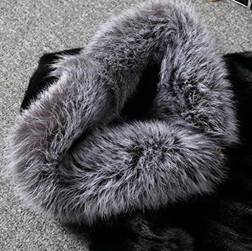 Vovotrade Femmes Hiver Manteau de fourrure Fox Manche longue Parka Outwear Noir