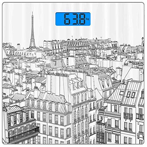 Digitale Präzisions-Personenwaage Paris Ultraflache Personenwaage aus gehärtetem Glas Genaue Gewichtsmessungen, Architektur Thema Design Illustration von Dächern in Paris und Eiffelturm-Aufdruck, Hunt
