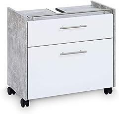 Galdem Waschbeckenunterschrank ELEGANCE mit 2 Schubladen und Rollenfüßen Bad Möbel Badschrank Gäste WC Gästebad Unterschrank