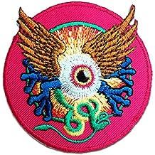 Toppe termoadesive - indù occhi con ali spirituale - rosa - Ø7,2cm - Patch Toppa ricamate Applicazioni Ricamata da cucire adesive