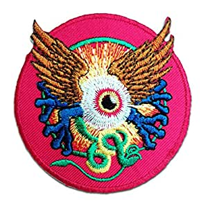 Ecusson - hindou yeux avec ailes spirituellement - rose - Ø7,2cm -patches brode appliques embroidery thermocollant