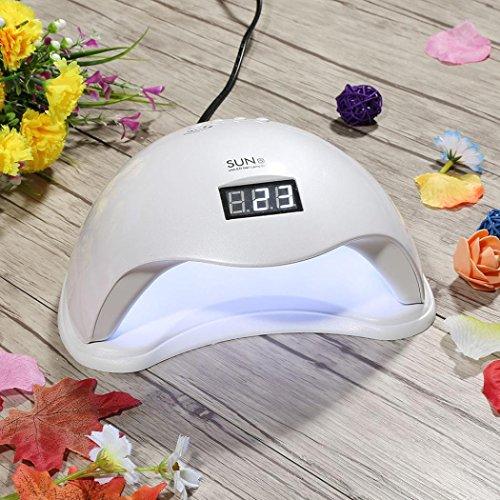 ESAILQ Abody Lampe UV LED Sèche-ongles 48W SUN5 Portable Séchoirs à Ongles Lumière Lampe à Polymériser Nail Art (Blanc)