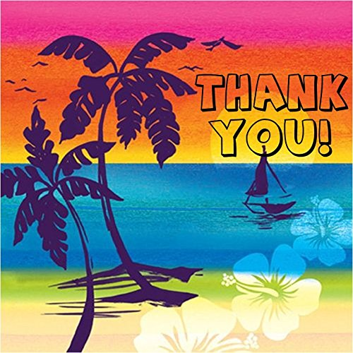 Hawaiian Theme Thank You Tags for All Parties/ Kid's Birthday Parties (Pack of 10 Tags)