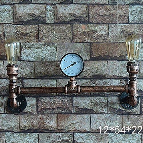 E27 Industrie-Retro Handmade Iron Water Pipe 2 Köpfe Edison Lampe Cafe Bar Pub Club Hotel Mall Restaurant Motel Wall Light Haus Dekor innen einfache Vintage Wandlampen,12 * 54 * 22cm