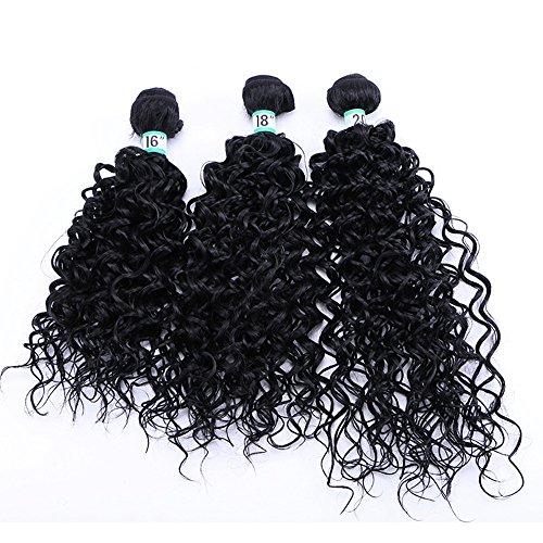 3 Pcs lot 70g / Pc 16 18 20 pouce Kinky Eau Bouclés Cheveux Synthétiques Extensions de Cheveux Humains Naturel Noir Couleur Haute température fiber Synthétique Bouclés Weave (3 Pcs 18\