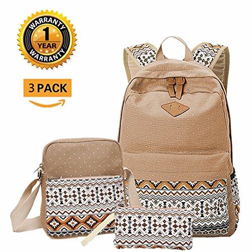Outdoor Canvas Travel Fashion personalisierte Freizeit Rucksack 14in Computer Tasche 3 PCs Set Khaki
