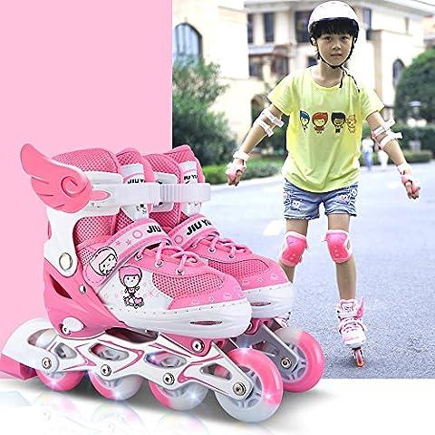 Crayom Sicherheit Keine Angst Männliche und weibliche Anfänger Inline-Rad Skates Verschleißfeste PU-Rad dickere Zehen Skates Kinder-Set von Rollschuhen ( Color : Pink , Size : S )