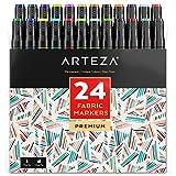 Arteza Textilstifte — Permanente 3D Stoffmalstifte — Textilmarker mit Doppelspitze — 24 Verschiedene Textilmalstifte