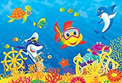 Wall Mural Border Children's Photo Ornament Underwater Photo Frame 250x170 cm Sea Fish Underwater Children Wallpaper Border for Children's Room Wall Tattoo/Sticker