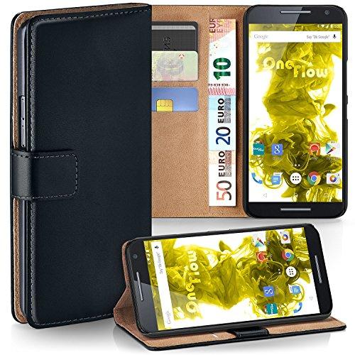 Motorola Moto X Play Hülle Schwarz mit Karten-Fach [OneFlow 360° Book Klapp-Hülle] Handytasche Kunst-Leder Handyhülle für Motorola Moto X Play Case Flip Cover Schutzhülle Tasche