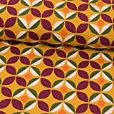 Stoffe Werning Baumwolljersey Retro-Blüte senfgelb Damenstoffe - Preis Gilt für 0,5 Meter