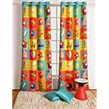 "Blackout Poly Satin Fabric-Aero Plane Print Window Curtains - Set of 2 Curtain Panels for a Baby Nursery or Toddler or Kids Bedroom - 48"" x 60"" panels"
