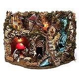 Holyart Villaggio Cascata Fuoco Mulino luci natività e Personaggi 40X60X40 cm Figure 9-10 cm