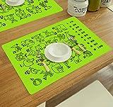 Saflyse Kinder Platzmatten Silikon Wasserdicht Rutschfeste Platzmatten Tischsets für Baby und Kinder(Grün)
