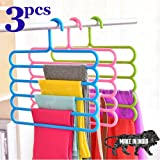 BONIRY Hanger for Clothes Set Wardrobe Storage Organizer Hanger Rack 5 Layer Plastic Clothes Hanger (Set of 3)