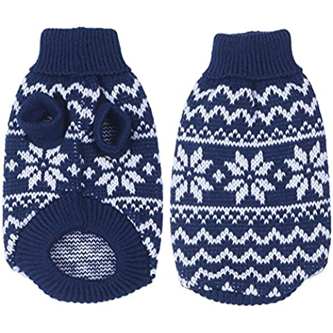 cachorros de perro suéter caliente de la Navidad del copo de nieve suéter de la capa del animal doméstico ropa ropa - azul,