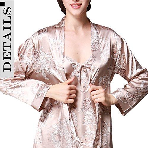 Dolamen Femme Pyjamas, Femmes Ensemble de Pyjama Satin Hiver, 3-in-1 Luxe & Lingerie Satin Ensemble pyjama en, Manche Longue & Pantalon alon Longue Or