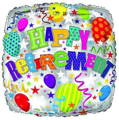 Simon Elvin Happy Retirement Ballon en aluminium. Motif ballons multicolores. 45 cm. aux visages souriants