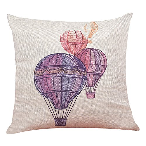 Federa,kword cuscino decorativo a forma di palloncino stampato a forma di mongolfiera cuscino decorativo per cuscini a forma di mongolfiera 45*45cm (a)