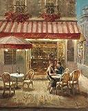 Fertig-Bild - Danhui Nai: Paris Cafe II Crop 40 x 50 cm Strassencafe Idylle Nostalgie