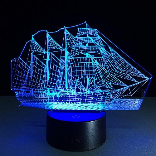 Deko Lampe Einrichtung der Lampe 3d führte das Segeln des Nachtlichts 3d Acrylbunte Steigungs-Atmosphären-Lampe Neuheit, die Stekker Lampe beleuchtet