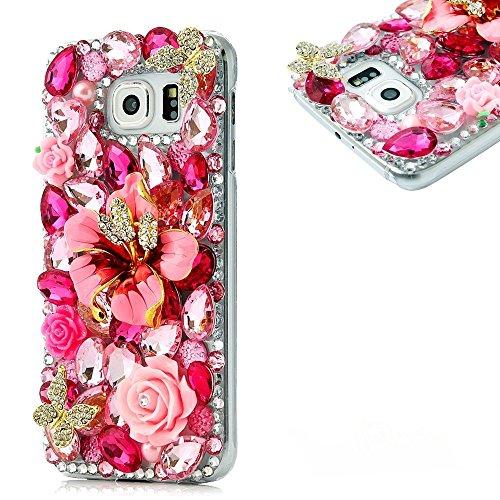 'Spritech (TM) fatta a mano in 3d con finti diamanti rosa fiori e farfalle dorate decorazione design trasparente Custodia rigida, PT-1, Samsung Galaxy S7 Edge