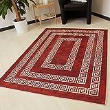 Moderner Teppich in Rot mit Versace Design rutschfest und waschbarer Teppich Kelim Kilim hochwertige Webung in Rot mit Öko-Tex (160cm x 230cm)