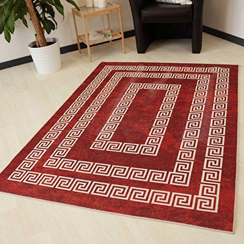 Moderner Teppich in Rot mit Versace Design rutschfest und waschbarer Teppich Kelim Kilim hochwertige Webung in Rot mit Öko-Tex (120cm x 170cm)