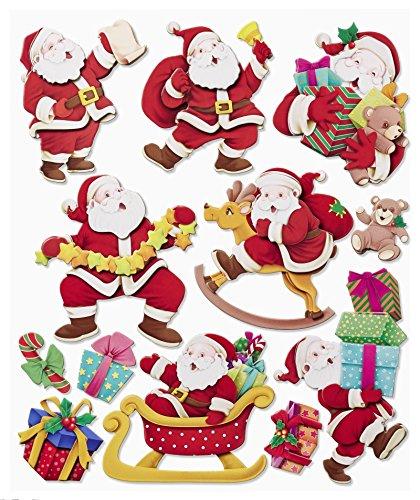 Stickerkoenig Wandtattoo 3D Sticker XXL Set - Weihnachten Weihnachtsmann Nikolaus Weihnachtsdeko Weihnachtsmänner Winter Deko auch für Fenster, Türen, Schränke etc...