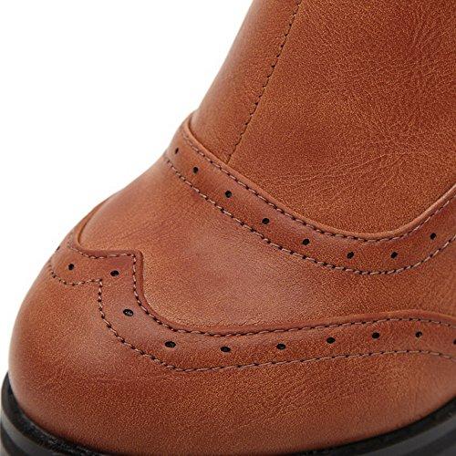 VogueZone009 Donna Punta Tonda Tacco Alto Alla Caviglia Puro Stivali Marrone