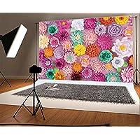 YongFoto 2,2x1,5m Vinilo Fondos Fotograficos 3D Flor de Papel Pared de Flores Floral de Moda Abstracto Fondos para Fotografia Fiesta Boda Adulto Retrato Cumpleaños Personal Estudio Fotográfico Accesorios