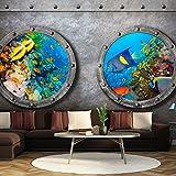 murando - Fototapete 300x210 cm - Vlies Tapete - Moderne Wanddeko - Design Tapete - Wandtapete - Wand Dekoration - Fenster Schiff U-Boot Unterwasserwelt f-A-0291-a-d