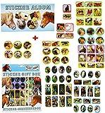Unbekannt 80 TLG. Set _ Sticker / Aufkleber + Stickeralbum -  Pferde & Fohlen  - selbstklebend Stickerbox - Stickerset für Kinder - für Mädchen & Jungen - Tiersticker..