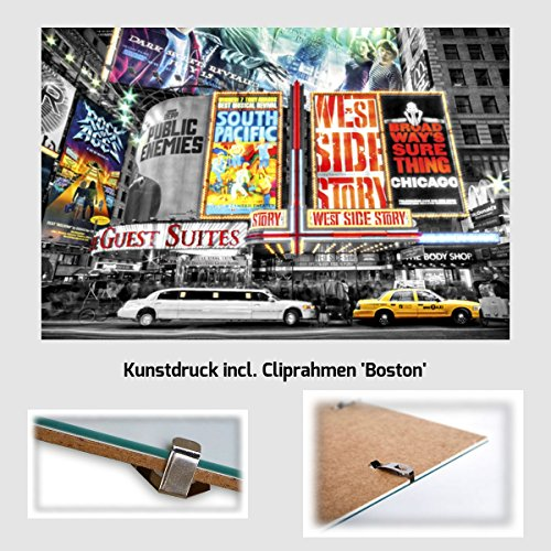 Kunstdruck Poster - New York Theater Limousine NYC USA 61 x 91,50 cm mit rahmenlosem Bildträger Boston & Acrylglas (Boston Home-theater)