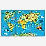 ge Bildet Hochwertiges Leinwandbild XXL - Weltkarte für Kinder - Hellblau - Bild für kinderzimmer - 165 x 100 cm mehrteilig (3 teilig)| Wanddeko Wandbild Wandbilder Wohnzimmer deko Bild | 2201 K