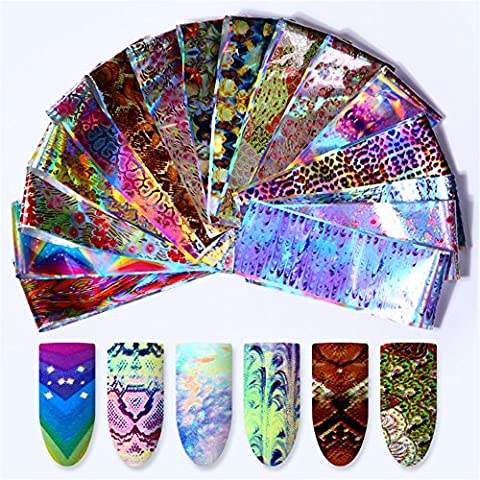 NICOLE DIARY 16 Pcs Holographic Nail Foil Animail Laser Flower Snake Leopard Pattern Manicure Nail Art Transfer