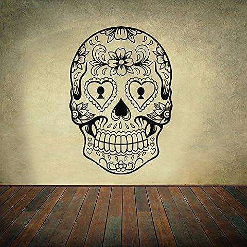 Sticker mural décoratif en vinyle motif : crâne mexicain mur,