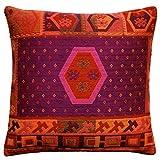 Lorenzo Cana Home Edition Luxus Kissenhülle handgewebt Mehrfarbig 100% Baumwolle Kissenbezug Zierkissen Zierkissenbezug Kissen Sofakissen Pink Rot Orange Violett 96125