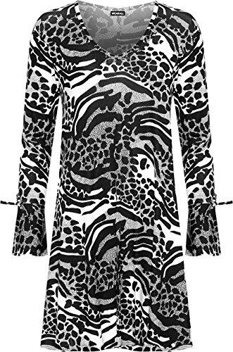 WEARALL Femmes Plus Évasée Swing Robe Dames Léopard Animal Imprimer Longue Cloche Manche - 42-56 Noir Blanc