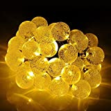 Primium Solar String Lights, Waterproof outdoor Globe Lights, 20ft 30 LED Fairy Crystal Ball Lighting for Christmas Trees, Garden, Patio, Wedding, Party and Holiday Decorations, Warm white
