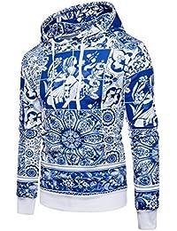 Boom Fashion Hombre Sudaderas con Capucha de Porcelana Azul y Blanca Moda Pullover Tops Manga Larga Invierno