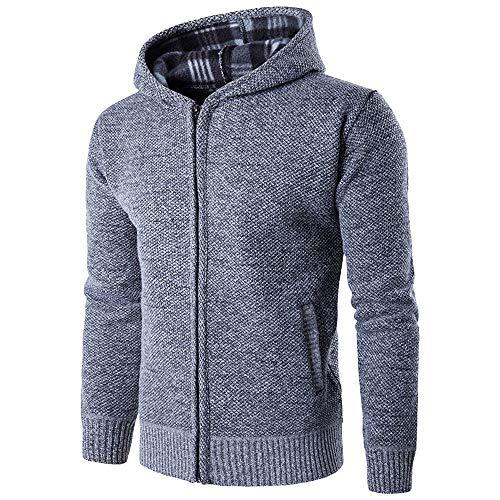 MIRRAY Herren Solides Kapuzenpullover Pocket Zipper Coat -