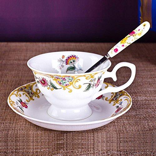 SSBY Une variété de tasses de café en option, continental fleur porcelaine, mariage pivoine britannique tasse et soucoupe, 1 tasse, 1 cuillère de disque 1 , C