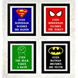 Love st. - Superhero Bathroom Rules - Posters for Home and office quirky poster 12x16