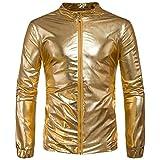 Herren Metallic Glänzend Jacke Nachtclub Party Tanzen Freizeit Mode Mantel Jacke