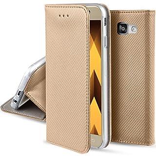 Moozy Hülle Flip Case für Samsung A3 2017, Gold - Dünne magnetische Klapphülle Handyhülle mit Standfunktion