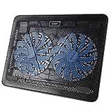 AUKEY Ventilateur PC Refroidisseur Ordinateur Portable 2 Ventilateurs LED Bleu 2 Ports USB et Supports Réglables PC Portable Jusqu'à 17 Pouces (CP-R3)